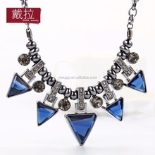 2015 PINPAI Fashion Jewelry statement necklace triangle black gun plated western style created crystal choker necklace 357