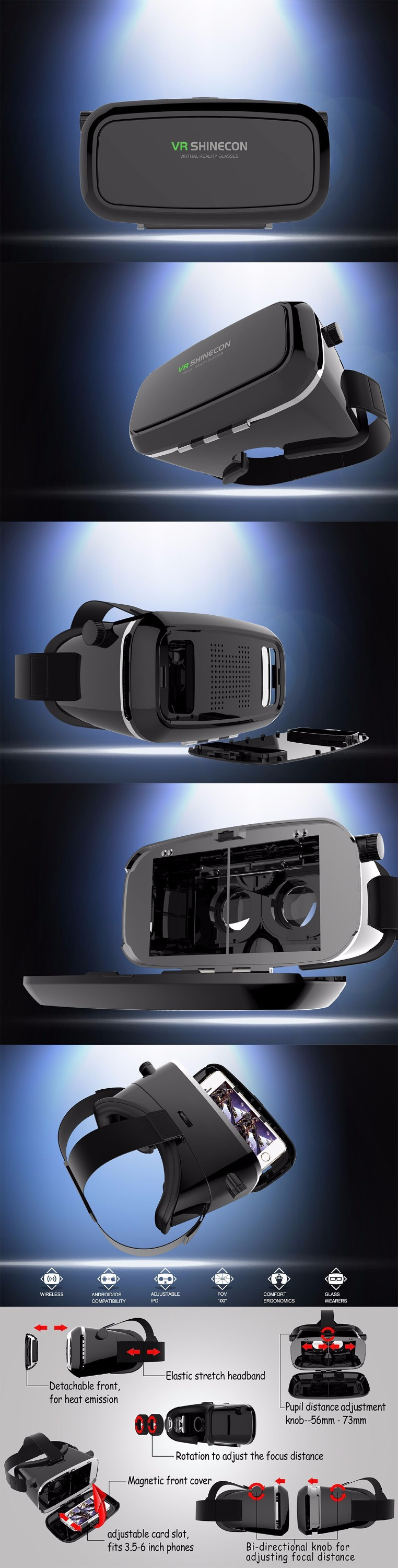 2015 vr shinecon low price plastic 3d glasses virtual reality high quality vr 3d glasses box for meizu/xiaomi