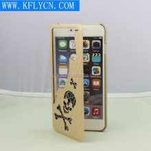 Cool 3D leather phone case for iphone 6, hollowed skull cases