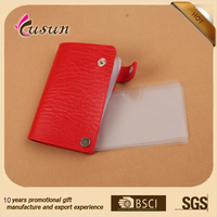 Printed clear plastic pvc credit card holder with button closure