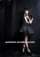 Lq-024 pyon pyon lolita negro- azul vestido de encaje con impresos y precio de venta al por mayor