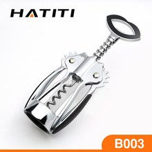 butterfly shape chrome plated zinc alloy wine cork screw with PVC coated handle BO03