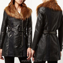 Anly wholesale latest fashion design women black leather faux fur trench coat