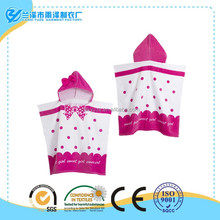 100% cotton rose bowknot shaped kids poncho towel by custom size and design