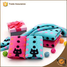 Soft Cotton Rectangular Cloth Lovely Cat Pattern Baby Kid Bathroom Hand Face Towels