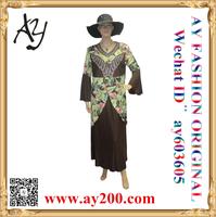 Wholesale new fashion printing satin model baju kurung modern