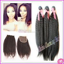 TOP Brazilian Virgin Afro Kinky Straight Hair With Closure Italian Yaki Weave With Closures Unprocessed Coarse Yaki Human Hair
