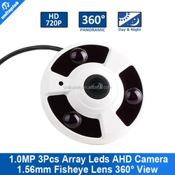Fisheye Camera 2.0MP/1080P 360 Degree View Camera 1.56mm Fisheye Lens IR 10m Metal Housing Panoramic Camera