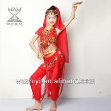 traje bonito de danza del vientre popular festivo para niños indios, ropa para representacióin de danza de vientre para niños