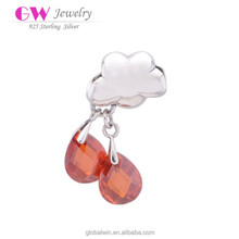 Wholesale Red Crystal Silver Charm Pendants
