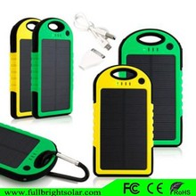 Water/ Shock/ Dust Resistant Dual USB Charger 5000mah Solar Battery bank /solar power bank