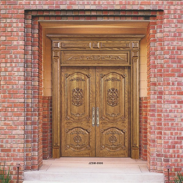Natural antique exterior wood door with luxury villa and for Natural wood front door