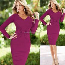 2015 New Fashion OL Women Ladies Office Dress Clothes Knee-length Bodycon Slim Pencil Party Dress