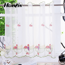 fruit design embroidery voile kitchen cafe curtains