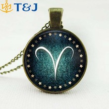 >>>2016 New Zodiac Necklace - European And American Fashion Retro Sweater Chain Time Gem Sweater Chain/