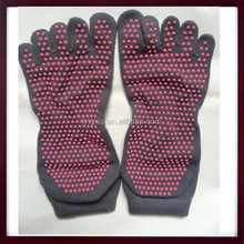 Women Solid Full Toe Grip Socks Cotton Anti Slip Toe Socks, Yoga GYM Massage Five Toe Safe Socks Non Slip