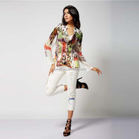 2015 fashion new design see-through long sleeve cotton girl blouse with colourful printing