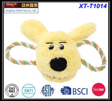 Smiling face dog with two-ears cotton rope spring plush dog pet toys plush pet toys