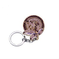 Fashion stereo fancy crystal leaf style hang hook keyring keychain for bag