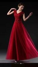 new 2015 shoulders long evening dresses red wedding dress