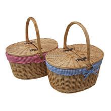 Deluxe Antique Wash 2 Person Wicker Willow Picnic Basket Dinnerware Set