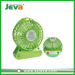 Portable USB Rechargeable 3Level Speed Mini Electric Fan with LED Light