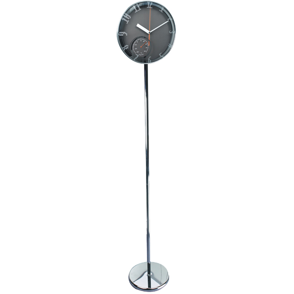 Modern Clock Standing On Floor With Weather Station