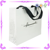 Modern stylish customized glossy lamination white shopping paper bag