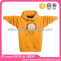 100% Quality Custom Printted Kids Plain Yellow Hoodie