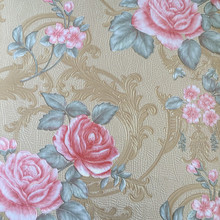 Deep embossed PVC wallpaper with flower patterns for room decoration