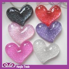 Bulk kawaii heart flat back resins Decorative. polyester resin jewelry cabochons