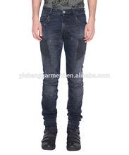 De color azul oscuro lavado- efecto de mezclilla de algodón pantalones vaqueros de motorista