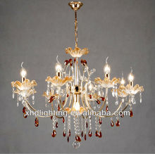 Popular de gran hotel de araña de cristal, e14 vela de vidrio de la lámpara colgante