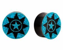 Sculpté corne et Crush Turquoise organique Plug Tunnels bijoux de corps