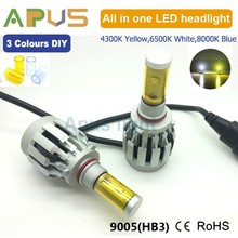Hot white yellow blue 3 colors DIY 9005 9006 CR EE 4000LM led car headlight
