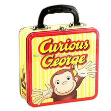 Curious George Square Metal Tin Lunch Box NEW Toys Carrier Tote Kids TV Show