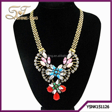 Gold plating vintage neckalce thick chain with V shape pendant necklace for wholesale