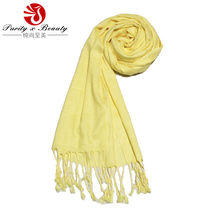 2014 La Beau New Product Solid Yellow Color Meidum Length 100% Viscose Woven Lady's Spring/Summer Scarf