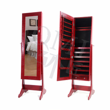 fashion wooden framed standing mirror in red PU