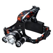 3 XM-L T6 LED Head Lamp - 3800 Lumens, 4 Lighting Modes, Adjustable Head Strap, Battery Charger, Weatherproof