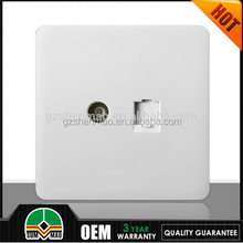 Cheapest British CE single Tv satellite port wall socket with computer port socket hot sell in Euro 13A electric socket