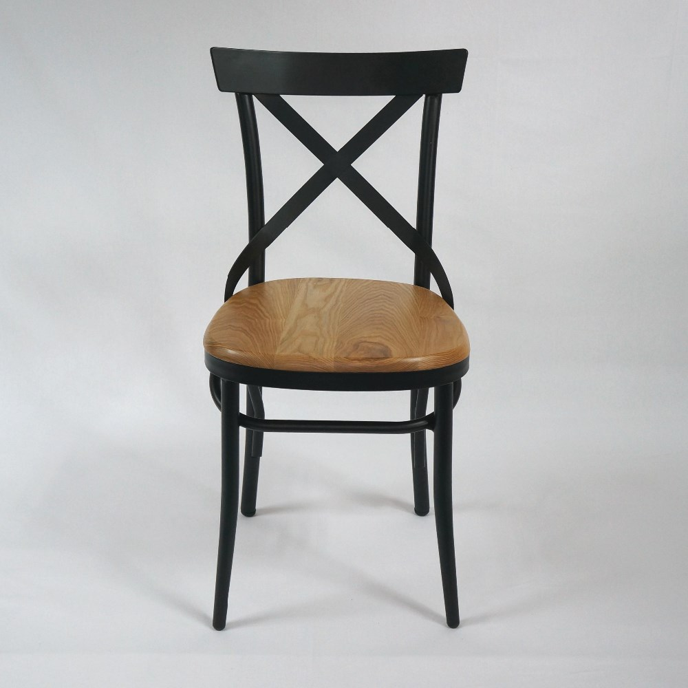metal chair for dining room and restaurant used with ashtree wood seat