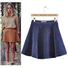 caliente de la venta de las mujeres de primavera y otoño invierno de la moda de pana faldas sólido, señoras casual faldas 6874