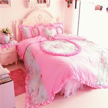 High quality pink floral printed fancy bed cover korean lace style comforter set