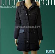 Women's Ladies Winter Warm down jacket black fur collar Cotton-Padded jackets for women