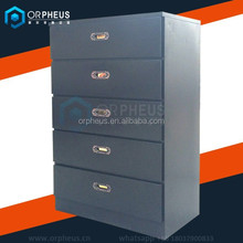 OR-KCA001 Single Dessers Metal Bedroom Furniture Wardrobe Cabinet Fully Assembled Black 5 Drawer Chest Dresser for Storage