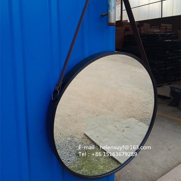 Superb Großhandel Billig 55 Durchmesser Schwarz Beschichtet Metallrahmen Dekorative  Wandspiegel Mit Lederband