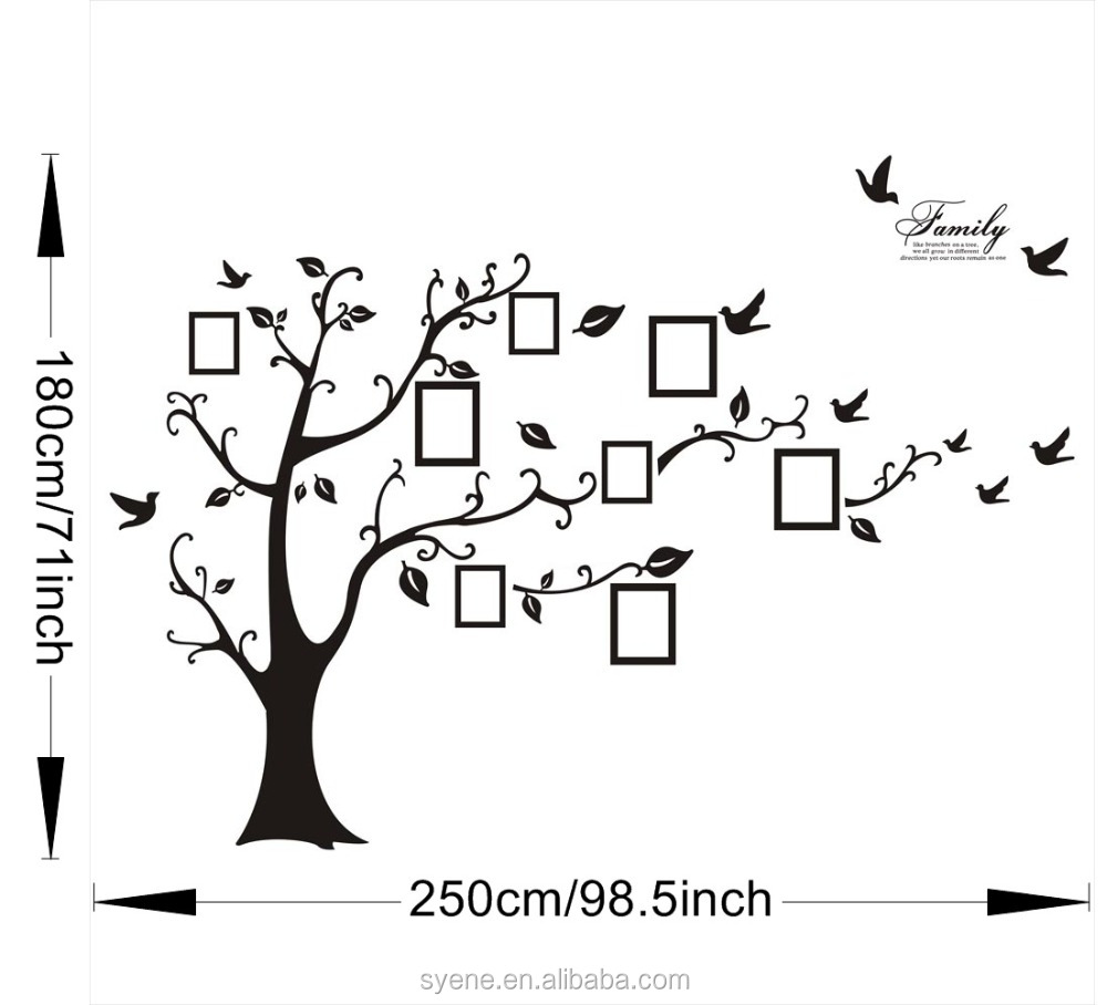 3d 180250cm Xl Tree Photo Frame Wall Stickers Removable Vinyl Home