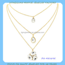 simple 3 layer necklace with single stone