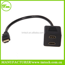 HDMI 1 to 2 Split Double Signal Adapter Convert Cable for Sending Video TV HDTV